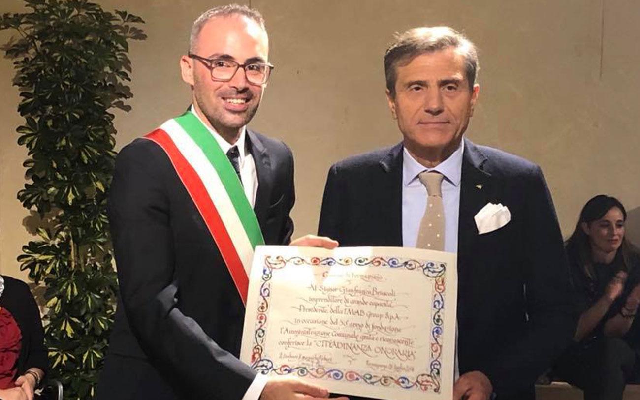 Cittadinanza onoraria Gianfranco Bruscoli: consegna